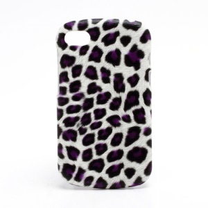 Leopard Leather Coated Plastic Case Cover for BlackBerry Q10 - Purple / White
