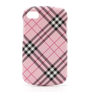 Plaid Leather Skin Plastic Case Cover for BlackBerry Q10 - Pink