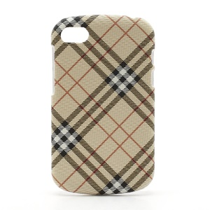Plaid Leather Skin Plastic Case Cover for BlackBerry Q10 - Beige