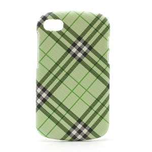 Plaid Leather Coated Plastic Case Cover for BlackBerry Q10 - Green