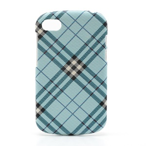 Plaid Leather Coated Plastic Case Cover for BlackBerry Q10 - Blue