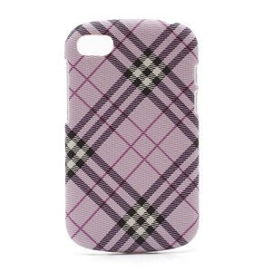 Plaid Leather Coated Plastic Case Cover for BlackBerry Q10 - Purple