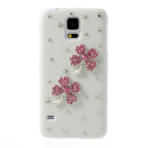 Pink Rhinestone Flower White Hard PC Shell for Samsung Galaxy S5 G900