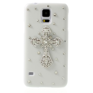 Rhinestone Cross Design for Samsung Galaxy S5 G900 White Hard PC Cover