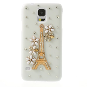 Diamond Eiffel Tower White Hard Shell for Samsung Galaxy S5 G900 GS 5