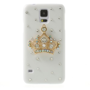 Diamante Crown White Hard Back Case for Samsung Galaxy S5 G900 GS 5