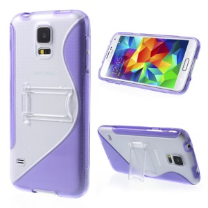 S Line Kickstand PC & TPU Hybrid Case for Samsung Galaxy S5 G900 - Purple