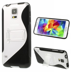 S Line Kickstand PC & TPU Hybrid Case for Samsung Galaxy S5 G900 - Black
