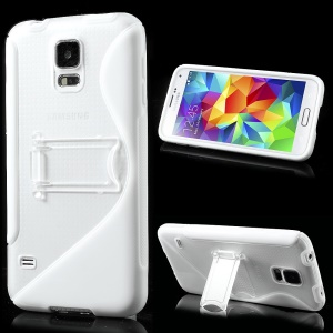 S Line Kickstand PC & TPU Hybrid Case for Samsung Galaxy S5 G900 - White
