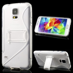 S Line Kickstand PC & TPU Hybrid Cover for Samsung Galaxy S5 G900 - Transparent