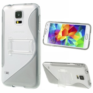 For Samsung Galaxy S5 G900 G900P S Line Kickstand PC & TPU Hybrid Cover - Grey