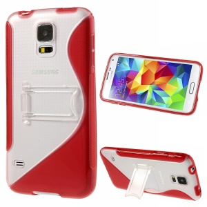 For Samsung Galaxy S5 G900 G900R4 S Line Kickstand PC & TPU Hybrid Cover - Red