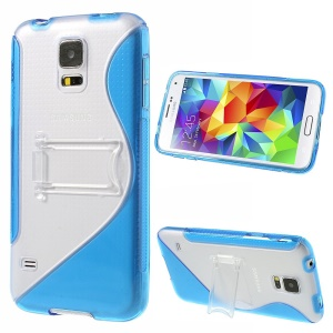 For Samsung Galaxy SV G900 G900T S Line Kickstand PC & TPU Hybrid Shell - Blue