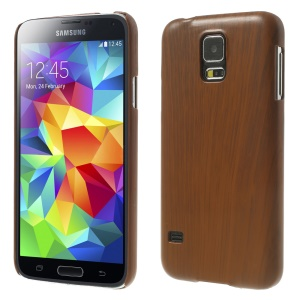 Wood Texture Plastic Hard Case for Samsung Galaxy S5 GS 5 G900 - Deep Brown
