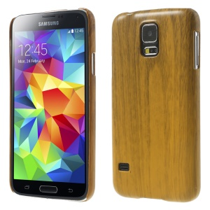 Wood Texture Plastic Hard Shell for Samsung Galaxy S5 GS 5 G900 - Light Brown