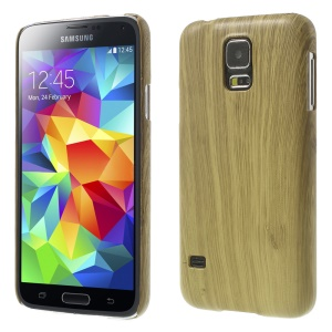Wood Texture Plastic Hard Back Shell for Samsung Galaxy S5 GS 5 G900 - Beige