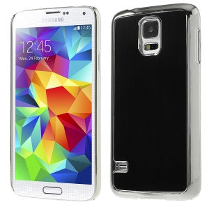 Brushed Aluminum Metal Skin Plated Hard Case for Samsung Galaxy S5 G900 - Silver / Black