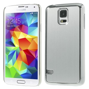 Brushed Aluminum Metal Skin Plated Hard Plastic Case for Samsung Galaxy S5 G900 - Silver
