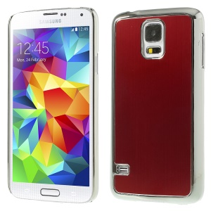 Brushed Aluminum Metal Skin for Samsung Galaxy S5 G900 Plated Hard Cover - Silver / Red