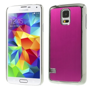 Brushed Aluminum Metal Skin for Samsung Galaxy S5 G900 Plating Hard Shell - Silver / Roseo