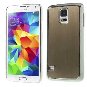 Brushed Aluminum Metal Skin Plating Plastic Case for Samsung Galaxy S5 G900 - Silver / Champagne