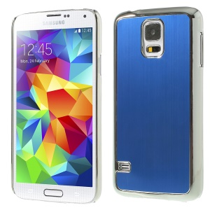 Brushed Aluminum Metal Skin Plated PC Back Case for Samsung Galaxy S5 G900 - Silver / Blue