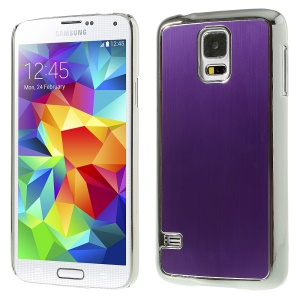 Brushed Aluminum Metal Skin Plated PC Shield Case for Samsung Galaxy S5 G900 - Silver / Purple