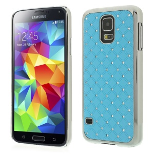 Starry Sky Rhinestone for Samsung Galaxy S5 G900K Electroplated Plastic Shell - Light Blue