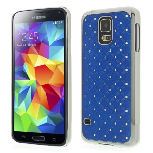Starry Sky Rhinestone for Samsung Galaxy S5 G900K Electroplated Plastic Case - Navy Blue