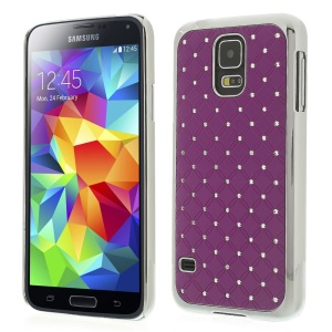 For Samsung Galaxy S5 G900 Starry Sky Rhinestone Plated Plastic Phone Case - Purple