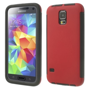 PC + TPU Hybrid Shell for Samsung Galaxy SV G900 w/ Touchable Screen Protector - Red