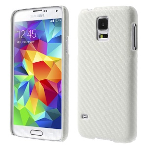 White Carbon Fibre Leather Coated Hard Back Case for Samsung Galaxy S5 G900