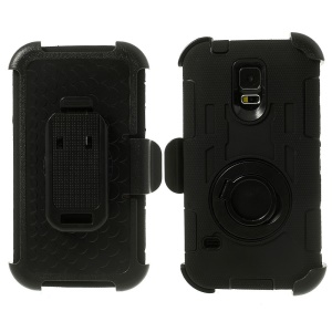 Black 4-Piece PC & Silicone Defender Case for Samsung Galaxy S5 G900 w/ Swivel Belt Clip
