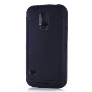 For Samsung Galaxy S5 G900 Full Protection PC & Silicone Combo Case w/ Screen Guard Film - Black