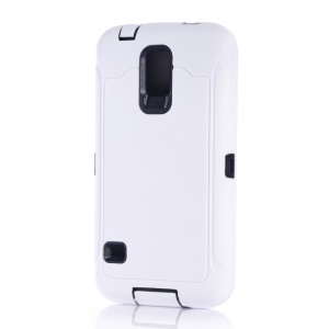 For Samsung Galaxy S5 G900 Full Protection PC & Silicone Combo Case w/ Screen Guard Film - White