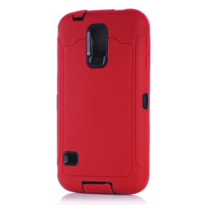 For Samsung Galaxy S5 G900 Full Protection PC & Silicone Combo Case w/ Screen Guard Film - Red