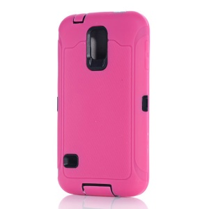 For Samsung Galaxy S5 G900 Full Protection PC & Silicone Combo Cover w/ Screen Guard Film - Rose