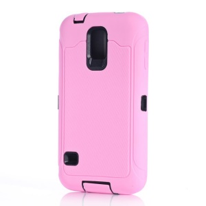 For Samsung Galaxy S5 G900 Full Protection PC & Silicone Combo Cover w/ Screen Guard Film - Pink