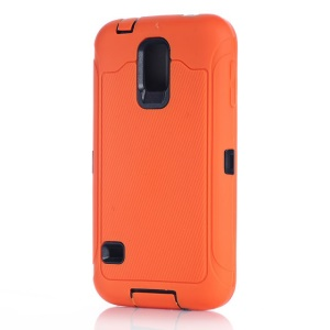 For Samsung Galaxy S5 G900 Full Protection PC & Silicone Hybrid Cover w/ Screen Guard Film - Orange