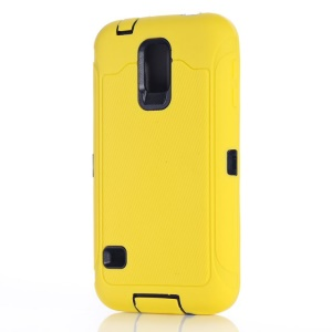 For Samsung Galaxy S5 G900 Full Protection PC & Silicone Hybrid Cover w/ Screen Guard Film - Yellow