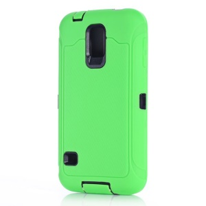 For Samsung Galaxy S5 G900 G900F PC & Silicone Hybrid Case w/ Screen Guard Film - Green