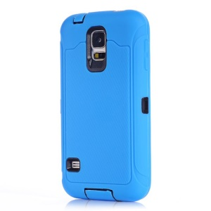 For Samsung Galaxy S5 G900 G900A PC & Silicone Hybrid Case w/ Screen Guard Film & Dust-proof Plugs - Blue