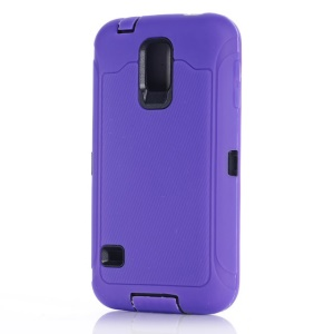 For Samsung Galaxy S5 G900 G900K PC & Silicone Hybrid Shell w/ Screen Guard Film & Dust-proof Plugs - Purple