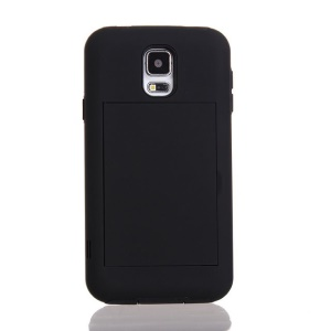 Card Storage Plastic & TPU 2 in 1 Hybrid Cover for Samsung Galaxy S5 G900 G900H - Black