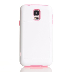 Card Storage Plastic & TPU 2 in 1 Hybrid Case for Samsung Galaxy S5 G900 - Pink / White