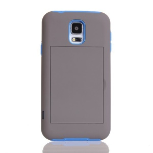Card Storage Plastic & TPU 2 in 1 Hybrid Case for Samsung Galaxy S5 G900 - Blue / Grey