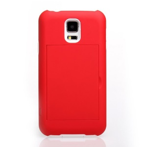 For Samsung Galaxy S5 G900 Card Storage Plastic & TPU 2 in 1 Hybrid Cover - White / Red
