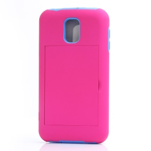 For Samsung Galaxy S5 G900 Card Storage Plastic & TPU 2 in 1 Hybrid Cover - Purple / Rose