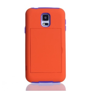 For Samsung Galaxy S5 G900 Card Storage Plastic & TPU 2 in 1 Hybrid Cover - Purple / Orange