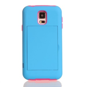 For Samsung Galaxy S5 G900 Card Storage Plastic & TPU 2 in 1 Hybrid Shell - Rose / Blue